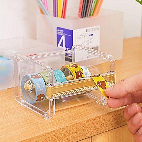 niceEshopTM Desktop Tape Dispenser Tape Cutter Washi Tape Dispenser Roll Tape HolderTransparent