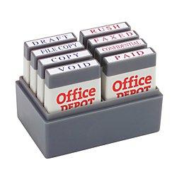 Office Depot Mini Message Stamp Kit BlueRed Ink 032542