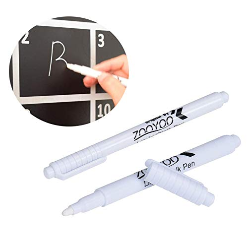 White Chalk Pens for Blackboards-Wipeable Glass Mirror Markers Liquid Chalk Ink Erasable Dry Wipe Clean Window Pens