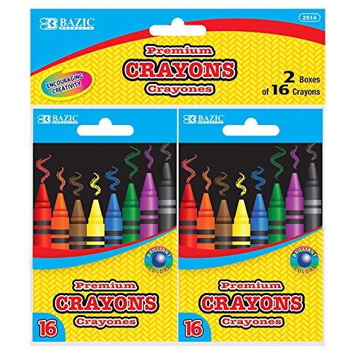 BAZIC 16 Color Premium Crayons 2 Boxes
