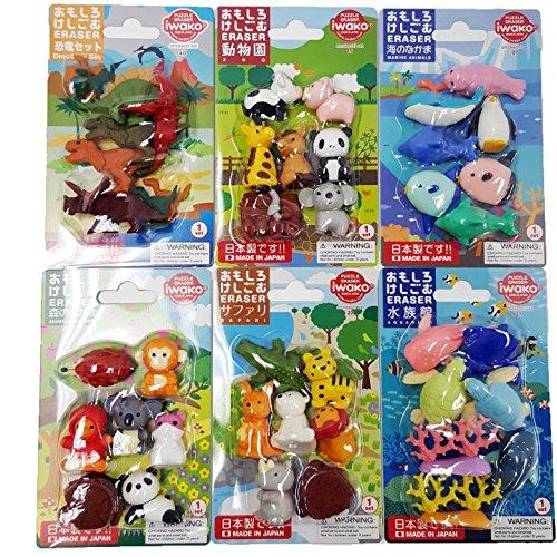 IWAKO Japanese Erasers Cute Animal Dinosaur Combo Set  Total 39 animals 5 parts erasers