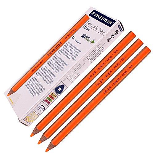 Staedtler Textsurfer Dry Highlighter Pencil 128 64 Drawing for Writing Sketching Inkjetpapercopyfax Pack of 12 Orange