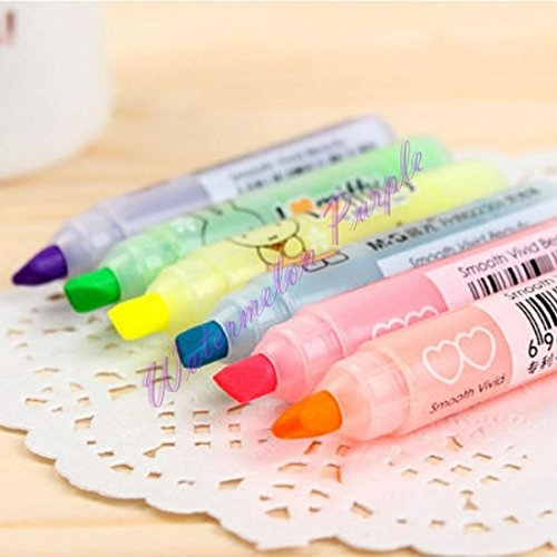 VIPASNAM-6 Color Mini Cute Highlighter Marker Pen Nite Writer Pen Stationery Kids Gift