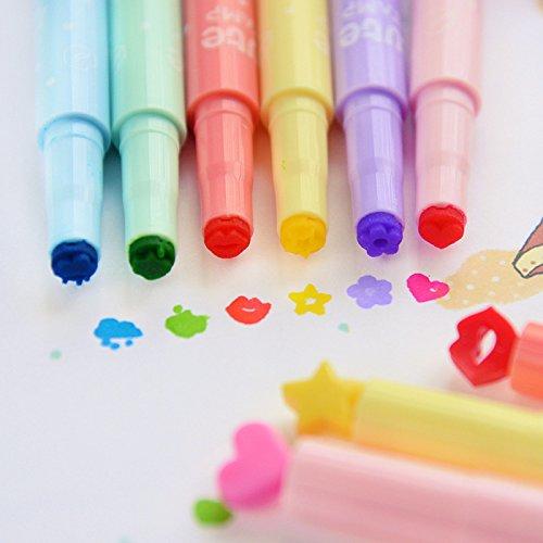 Vann92TM 6 PiecesLot Cute stamp - Highlighter Marker pen for DIY scrapbooking