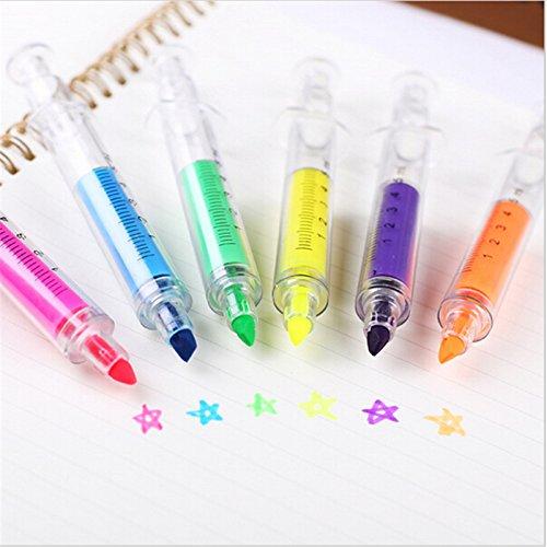 Vann92TM 6 Pieces Lot Syring Highlighter marker pen