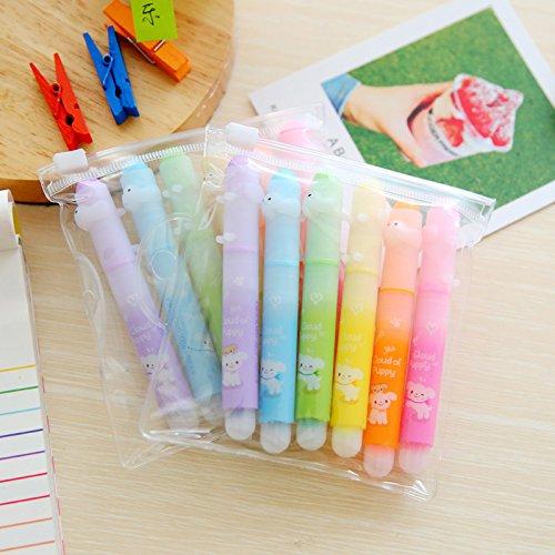 Vann92TM 6 Piecespack kawaii Dog Colorful Highlighter Marker Pen Drawing Fluorescence Marker Pen