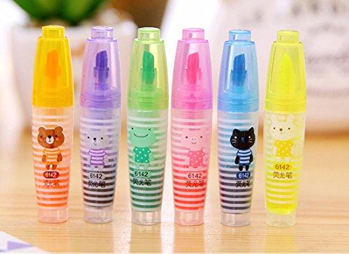 lotusflowert Little Bear Highlighter,Marker pen Cute cartoon animals Assorted colors for students and children highlighter pen Set 6 Pack
