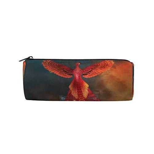 MONTOJ Flaming Phoenix Bird On Cross Pencil Case Cosmetic Bag