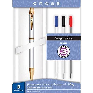 Cross Helios Medalist Chrome Gold Tone Ballpoint Pen Gift Set  3 Bonus Refills