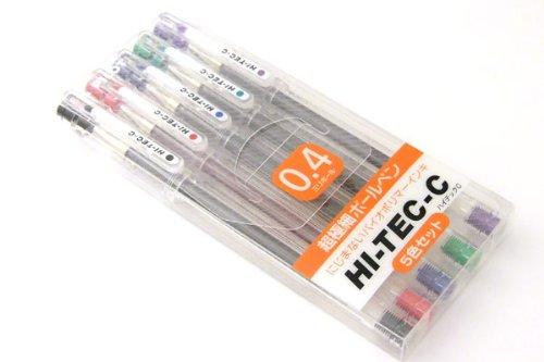 Pilot Hi-Tec-C Gel Ink Pen - 04 mm - Basic Colors - 5 Pen Gift Set