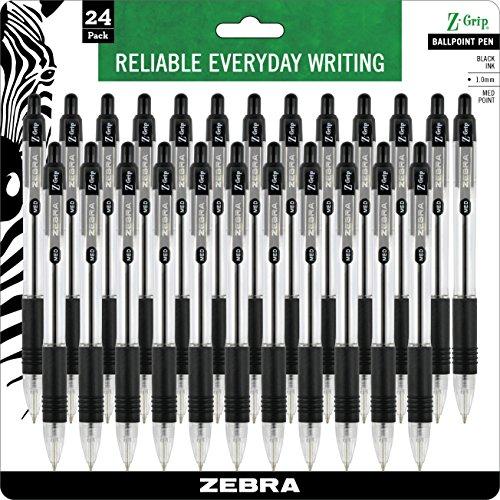 Zebra Z-Grip Retractable Ballpoint Pen Medium Point 10mm Black Ink Clear Barrel 24-Count