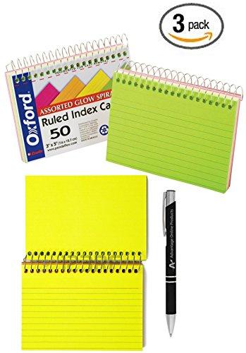 Value Bundle 3-Packs Oxford Spiral Bound Glow Index Cards 3 x 5 Ruled Asst Bright Colors 50 Cards per Book 40281 includes Bonus AdvantageOP Black and Chrome Pen 40281x3P