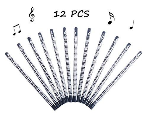 OPOCC Music Wooden HB PencilsSmooth Graphite coreBlack Mix WhiteBox of 12 Black