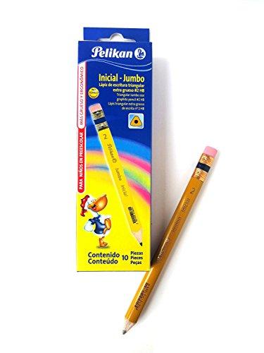 Pelikan Inicial - Jumbo My First Tri-Write Triangular 2 HB Pencils Ergonomic Design Reforested Wood Cased Black Writing 1 Box 10 Pencils 30330209