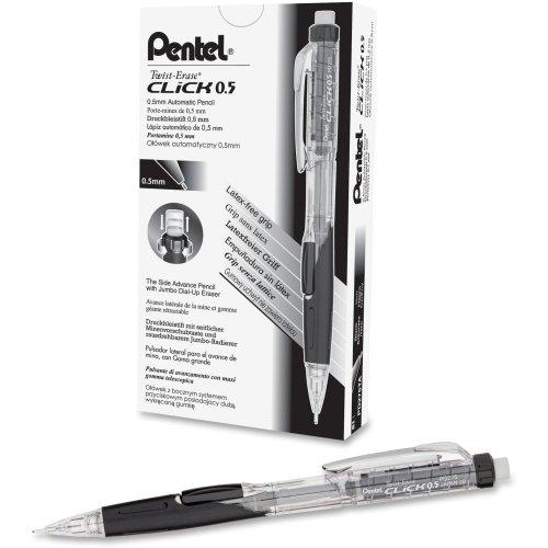 Pentel Twist-Erase Click Mechanical Pencil - 2 HB Pencil Grade - 05 mm Lead Size - Transparent Black Barrel - 1 Each