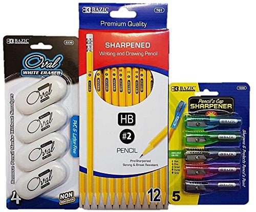 Yellow Pencil 2 HB with Pencil's Cap Sharpener Plus Free Bonus Oval Eraser 1 Set of Pencils 12 Pcs Pencil's Cap Sharpeners 5 Pcs and Oval White Erasers 4 Pcs