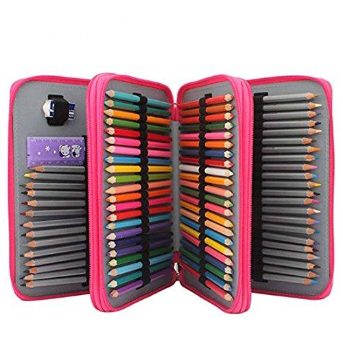 Soucolor 120 Slots Pencil Case PU Leather Handy Pencil Wrap with Zipper Super Large Capacity Pen Bag for Prismacolor Premier Colored Pencils Crayola Colored Pencils Rose Red