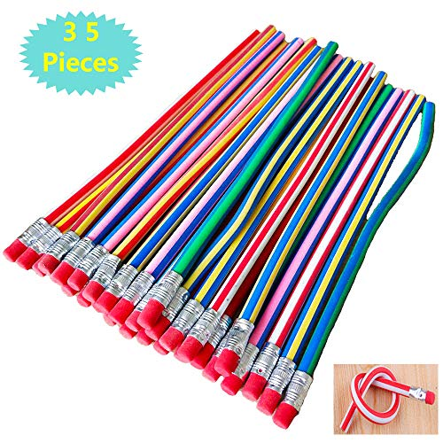 35PCS Bendable Pencils with Erasers7 inch Soft Fun PencilFlexible Pencils for KidsStudents as Great Party FavorGift Supply