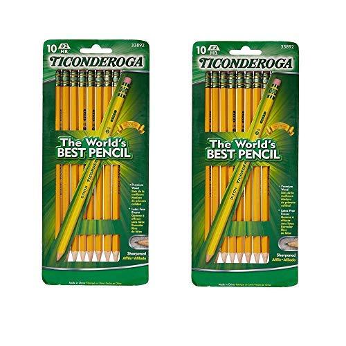Dixon Ticonderoga No2 Soft Pencil Yellow 10 Count2-Pack