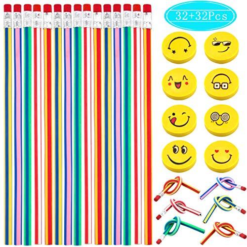 Hslife 32 Colorful Flexible Bendy Pencil Sets Soft Pencil Stripe Soft Pencil32 Pencils and 32 Yellow Eraser