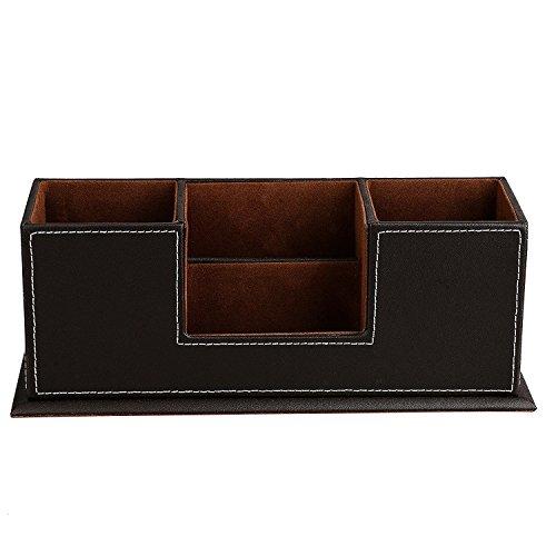 Brown PU Leather Desktop Storage Box 4 Compartment Desk Organizer CardPenPencilMobile PhoneRemote ControllerCosmetics Office Supplies Holder Collection Desktop Organizer