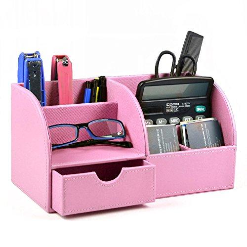 Iremico Multifunctional PU Leather Office Desk Organizer-7 Storage Compartments Desktop Stationery Storage Box  Business CardPenPencilMobile Phone Remote Control Holder Pink