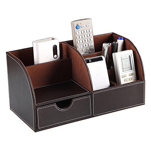 Multifunctional PU Leather Office Desk Organizer Business CardPenPencilMobile PhoneStationery Holder Storage Box Brown