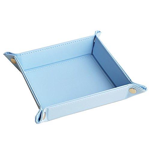 Storage Box PU Leather Office Desk OrganizerDesktop Collection Business KeyCardPenPencilMobile Phone Remote Control Holder Desk Supplies Organizer blue