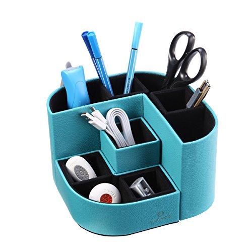 VPACK 7 Storage Compartments Multifunctional PU Leather Desk Organizer CardPenPencilMobile PhoneRemote Control Holder Office Supplies Desktop Stationery Storage Box Peacock Blue