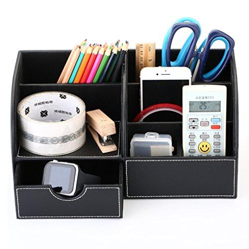 YOOSKE Home Office Supplies PU Leather Desk Organizer Storage Box with Drawer Business CardPenPencilMobile PhoneStationery Holder Storage Box Black