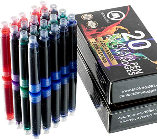Extra Ink Cartridges for Fountain Pens Fancy Pack of 20 International Standard Size Cartridges Blue Purple Green Red Perfect for Calligraphy Pen Universal Fine Design with Long Lasting Color