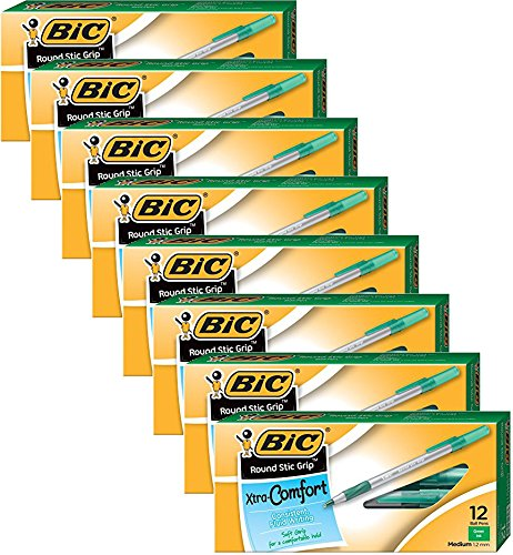 Bic - 8 Pack - Round Stic Grip Xtra Comfort Ballpoint Pen Green Ink Medium Dozen Product Category Writing Correction SuppliesPens Refills