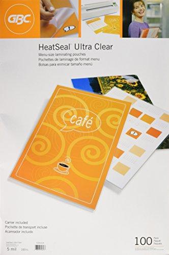 GBC Laminating PouchesSheets Thermal Menu Size 5 mil   Heat Seal Ultra Clear 100 per Box 3200418