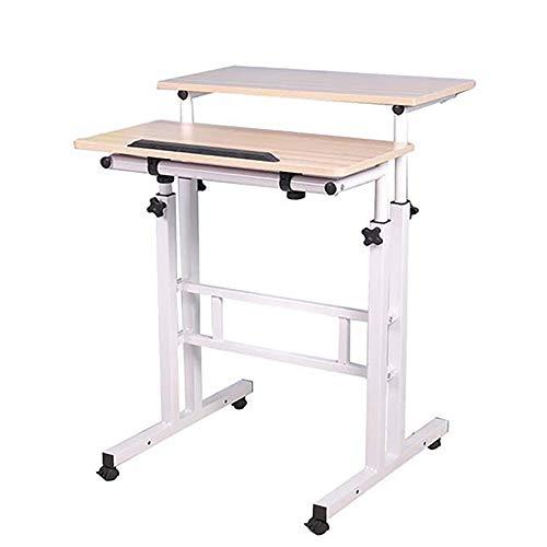 Mind Reader Multipurpose Home Office Computer Desk Mobile Sit and Stand Desk Workstation Desk White