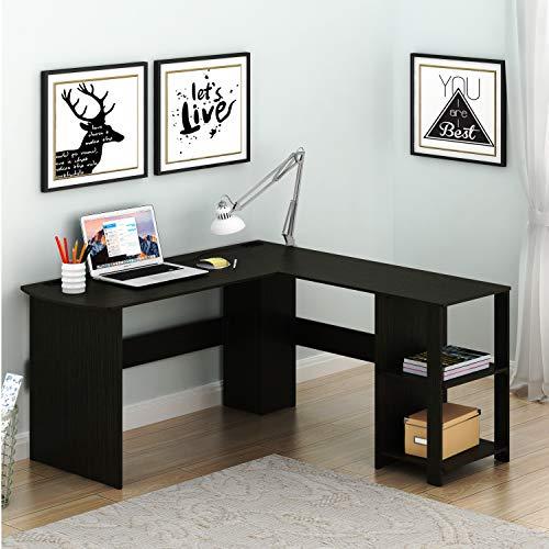 SHW L-Shaped Home Office Wood Corner Desk Espresso
