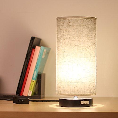 HAITRAL Desk Lamp Fabric Shade Nightstand light Modern table Lamp for Bedroom Office,College Dorm