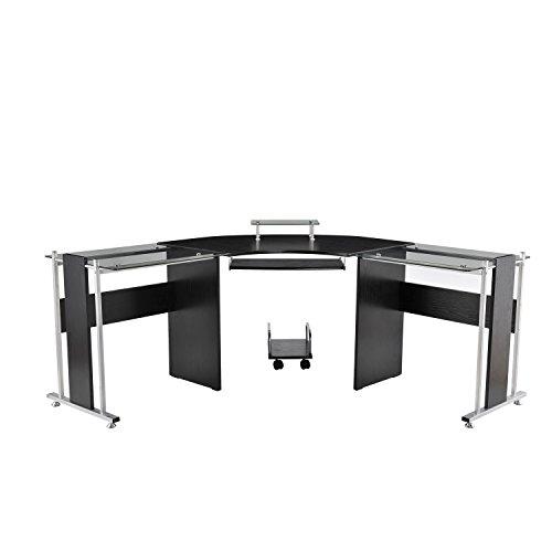 HomCom 69 Modern L-Shaped Symmetrical Smoked Glasstop Office Computer Desk