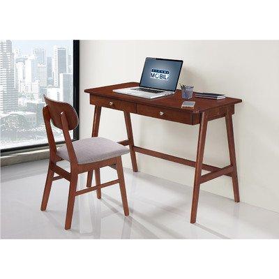 TECHNI MOBILI Modern Desk with storage and Chair Set - Mahogany  Gray