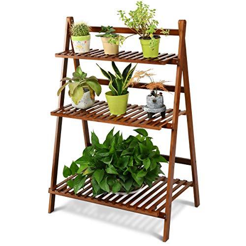 COSTWAY Bamboo Ladder Shelf Foldable Multifunctional Plant Flower Display Stand Storage Rack Bookcase Bookshelf Natural 3 Tier Brown