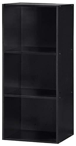 Hodedah Import 3 Shelf Bookcase Black