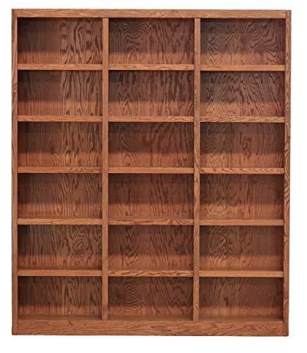 Concepts In Wood 18 Shelf Triple Wide Wood Bookcase 84 inch Tall Oak