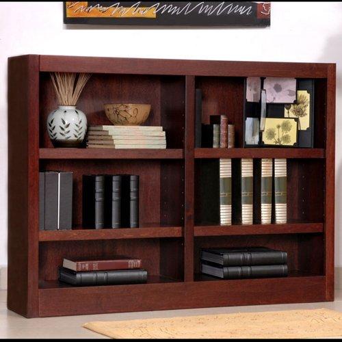 Concepts in Wood MI4836 6 Shelf Double Wide Wood Bookcase 36 inch Tal Oak