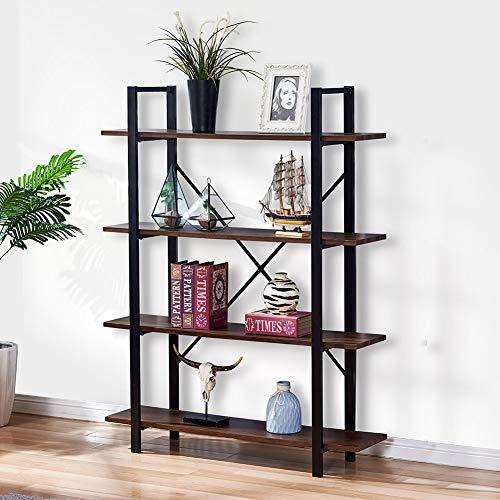 Infurnise 4-Shelf Storage Shelf Industrial Rustic Bookshelf Display Bookcase Open Wide Office Etagere Book Shelf Dark Oak