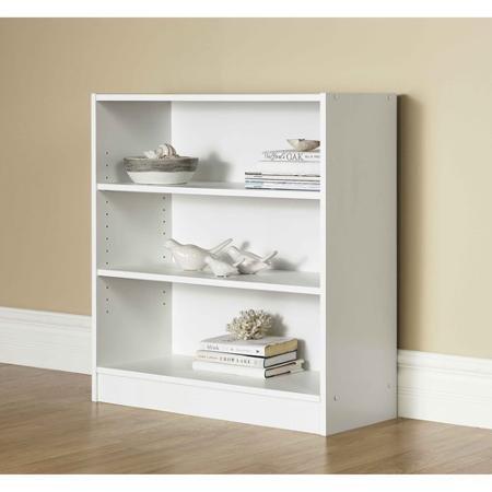 Mainstays 3-Shelf Bookcase  Wide Bookshelf Storage Wood Furniture White