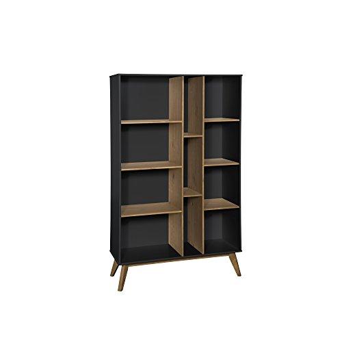 Manhattan Comfort Vandalia Wide Midcentury Wooden Bookcase Dark Grey