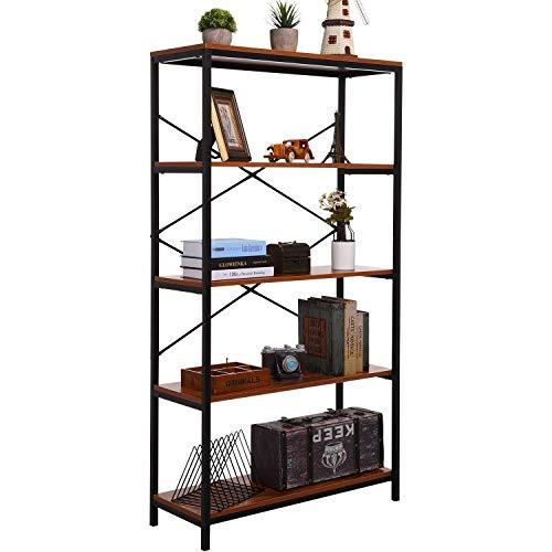 PaPafix Tall Bookcase Open Bookshelf Modern Wide Book Shelf Wood Metal Industrial Bookcase Furniture Shelving Unit Storage 4 Tier Bookshelf