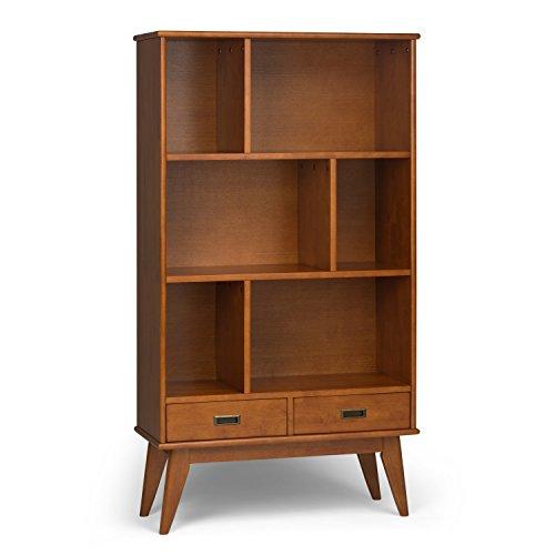 Simpli Home Draper Solid Hardwood 64 inch x 35 inch Mid Century Modern Wide Bookcase and Storage Unit in Teak Brown