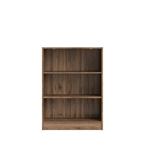 Tvilum Element Short Wide 3 Shelf Bookcase Walnut