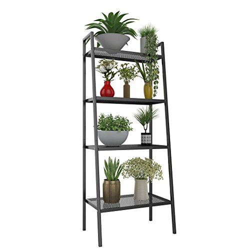 Rapesee Multifunctional Metal 4 Shelf Bookcase Ladder-Shaped Plant Flower Stand Rack Bookrack Storage Shelves black