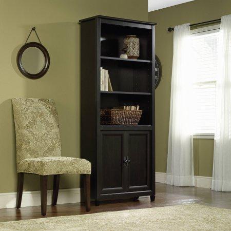 Sauder Edge Water 3-Shelf Library Bookcase with Doors Estate Black
